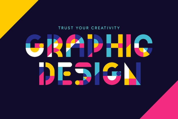 Graphic design colorful geometrical lettering