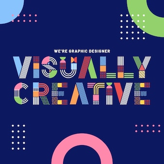 Graphic design colourful geometrical lettering