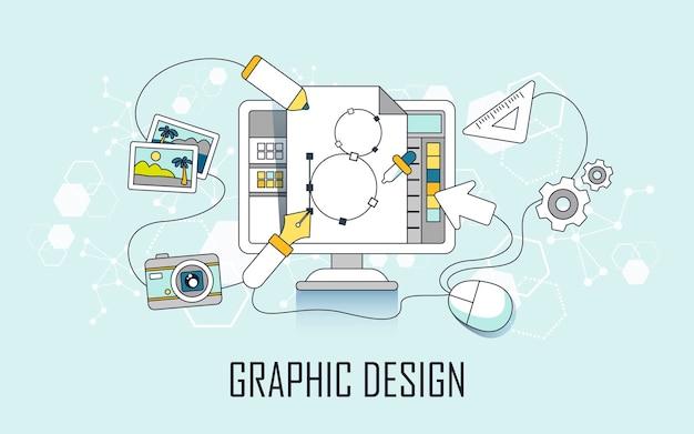 그래픽 디자인 개념: 선 스타일의 컴퓨터 및 디자인 요소