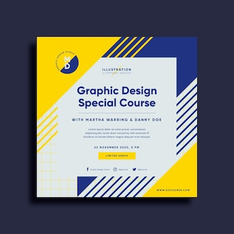 Graphic design course square flyer