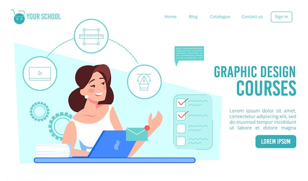 Graphic design courses online school landing page
