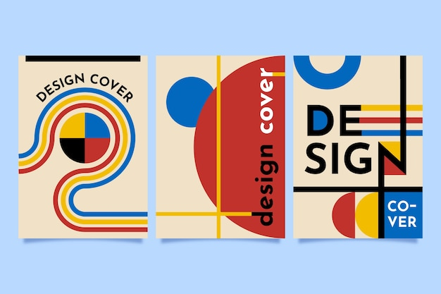 Graphic design cover in bauhaus style collection