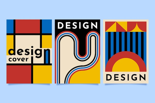 Graphic design cover in bauhaus style set