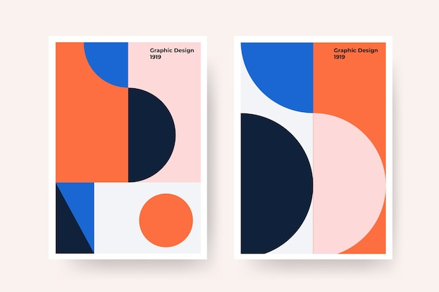 Graphic design cover in bauhaus style with curved lines