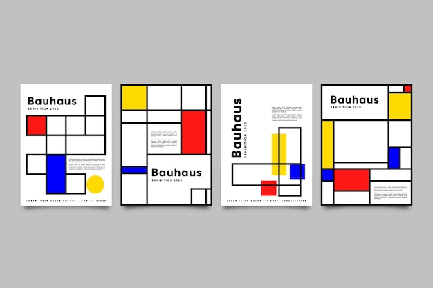Graphic design cover set in bauhaus style
