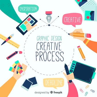 Graphic design creative process concept