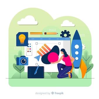 Graphic design creative process concept