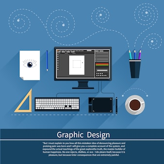 Graphic design, designer tools and software in flat design with computer surrounded designer equipment