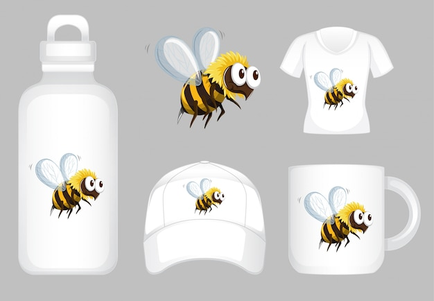Graphic design on different products with bee