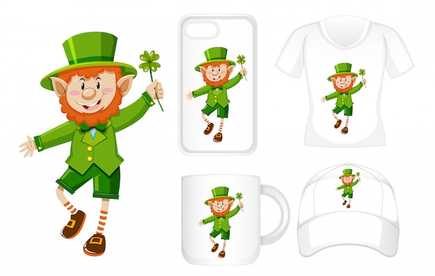 Graphic design on different products with leprechaun