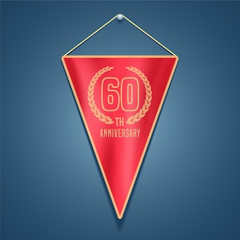 Graphic design element for decoration for 60th anniversary card