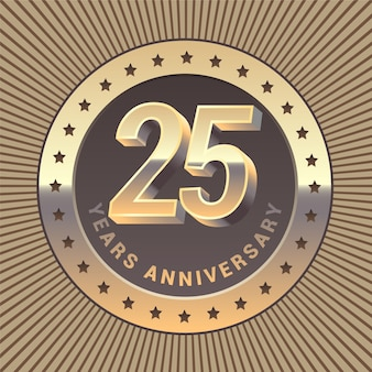 Элемент графического дизайна или эмблема в виде золотой медали к 25-летию
