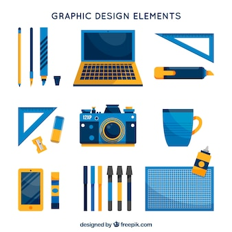 Graphic design elements collection in flat style