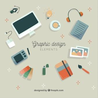 Collezione di elementi di design grafico in stile disegnato a mano
