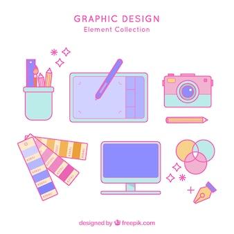 평면 스타일의 그래픽 디자인 요소 모음