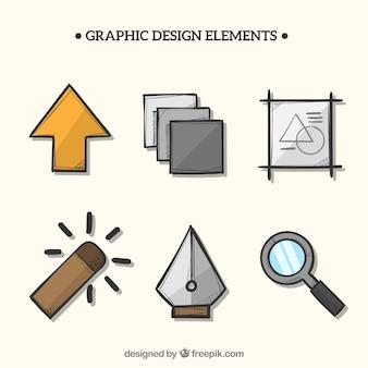 手描きのスタイルでグラフィックデザイン要素のコレクション