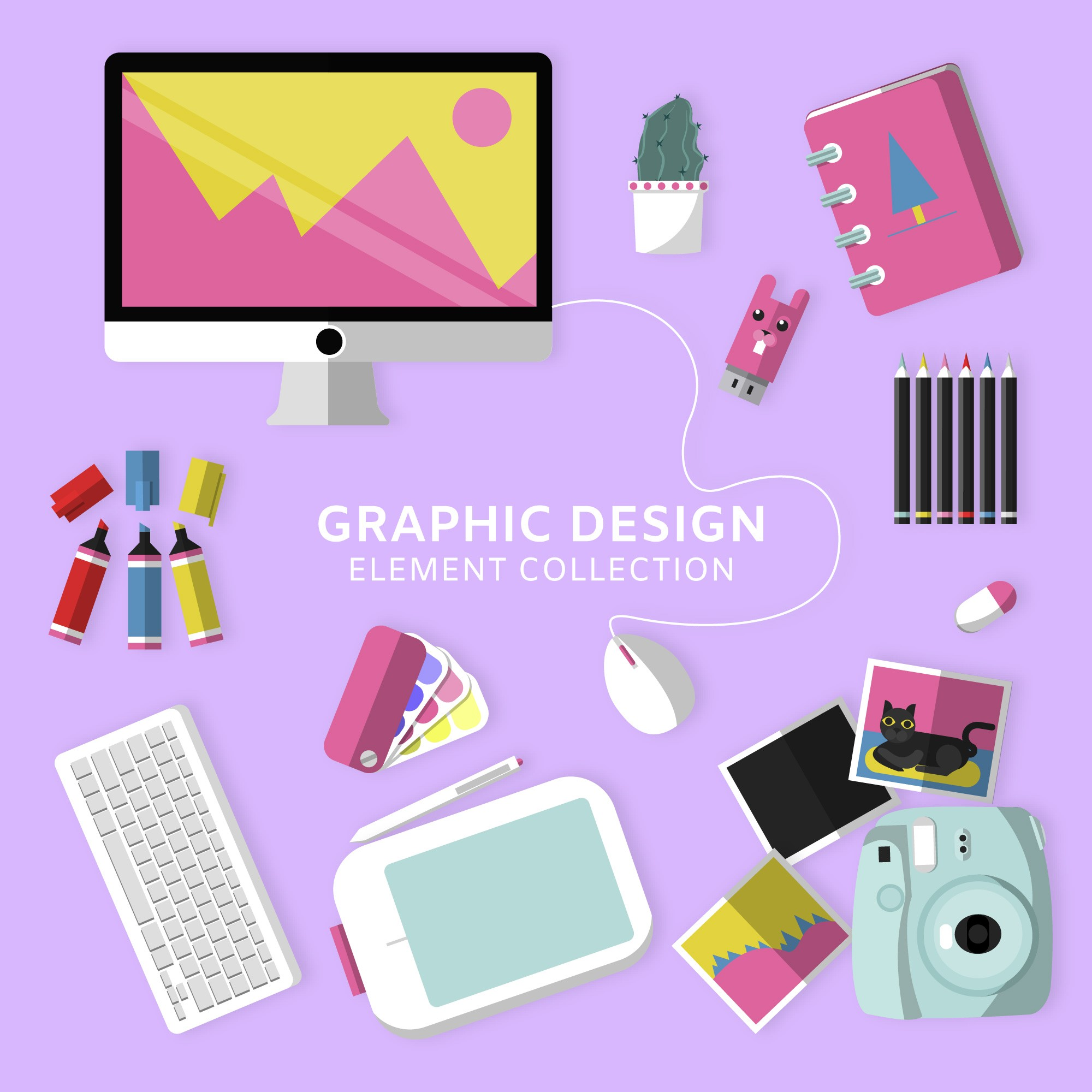 Graphic design elements collection with top view