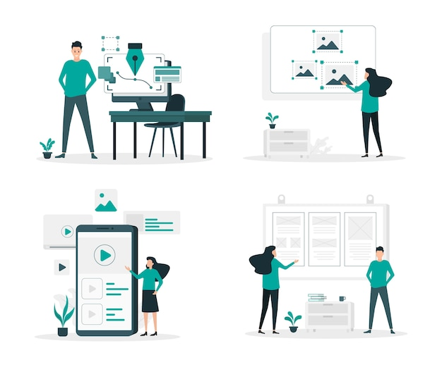 Graphic design flat illustration set