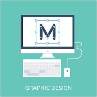 Graphic design flat vector icon