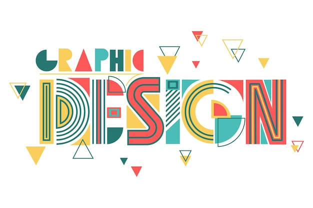 Graphic design in geometric lettering