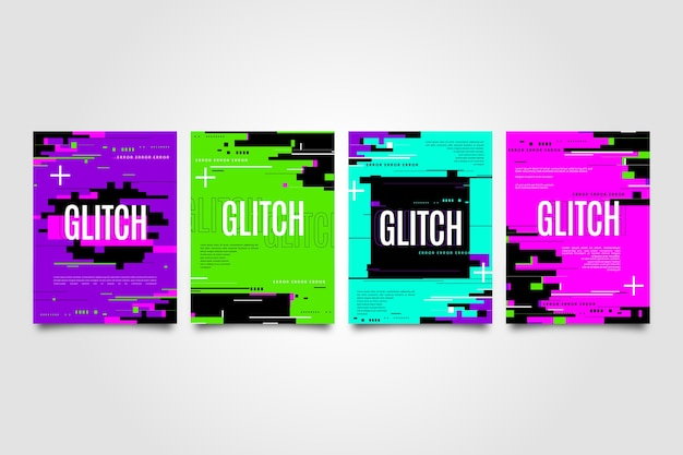 Graphic design glitch cover collection