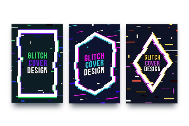 Collezione di grafica glitch cover