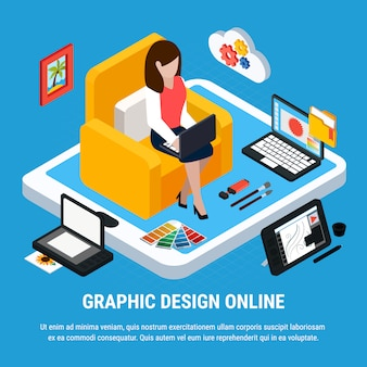 Graphic design isometric concept with woman working on computer