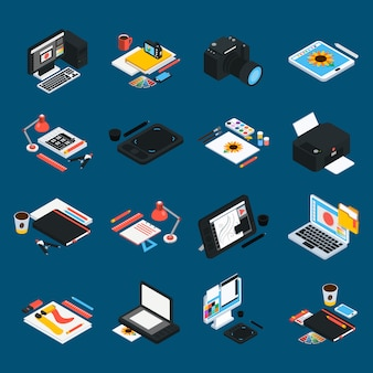 Graphic design isometric icons