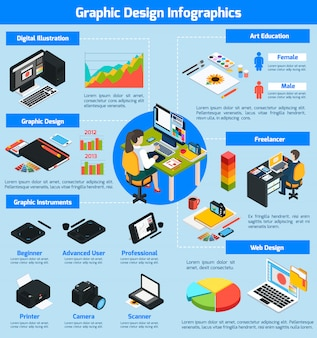 Graphic design isometric infographics