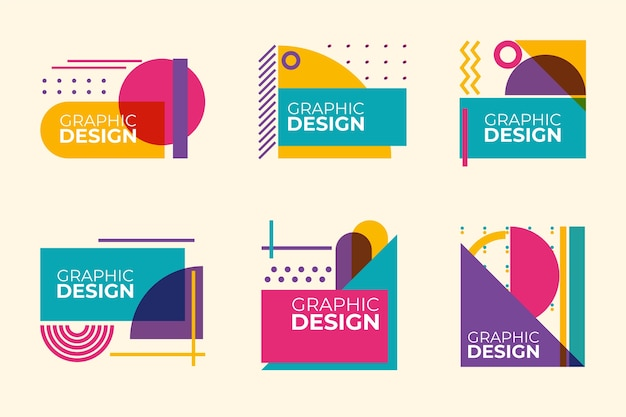 Graphic design labels in geometric style