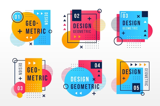 Graphic design labels in geometrical style