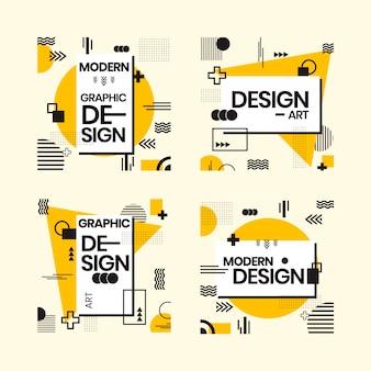 기하학적 스타일의 그래픽 디자인 레이블