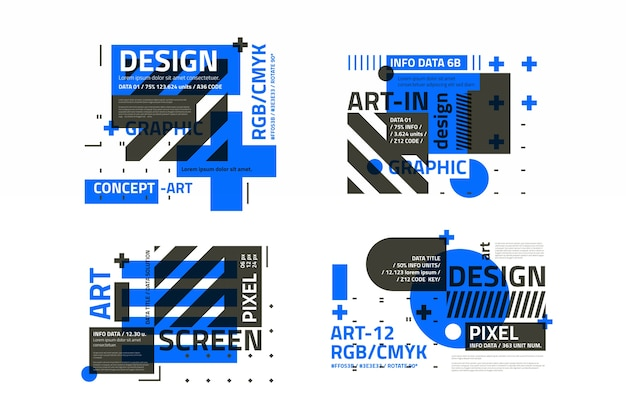 Graphic design labels pack in geometric style
