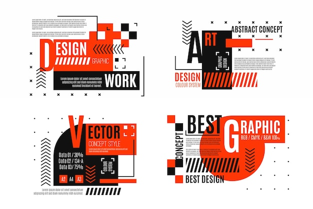 Graphic design labels set in geometric style