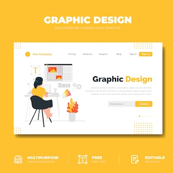 Graphic design landing page concept