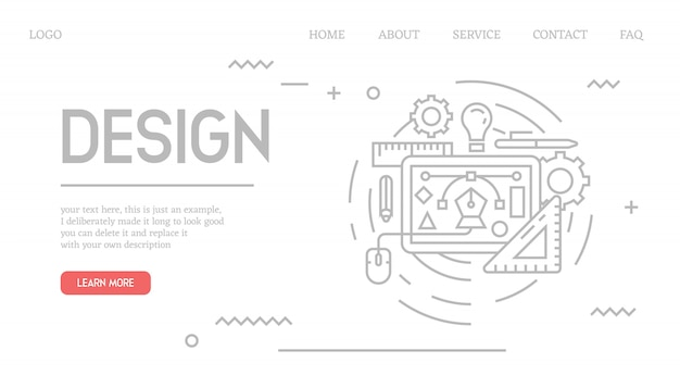 Graphic design landing page in doodle style