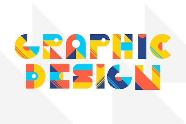 Graphic design lettering in geometric lettering