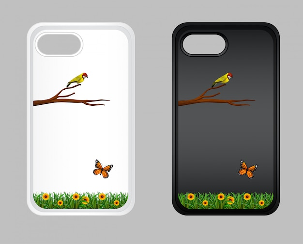 Graphic design on mobile phone case with bird and butterfly