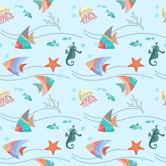 海の生活のシームレスパターンのグラフィックデザイン。