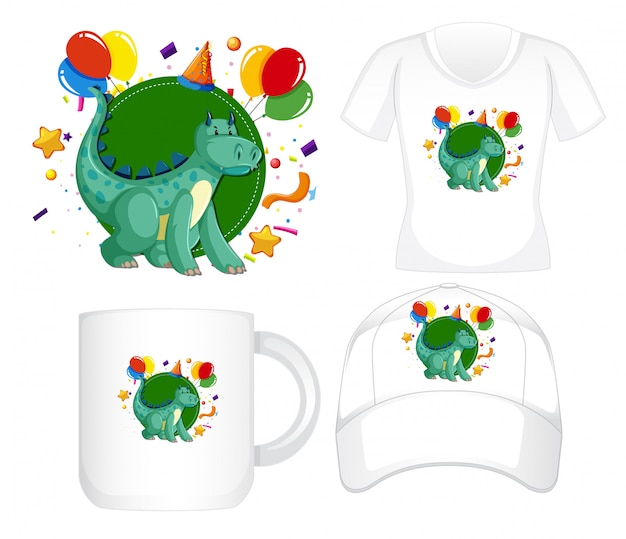 Графический дизайн на разные продукты с зеленым драконом