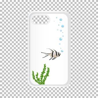 水中の魚と携帯電話ケースのグラフィックデザイン