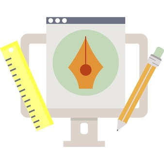 Графический дизайн платформы пк вектор плоский значок