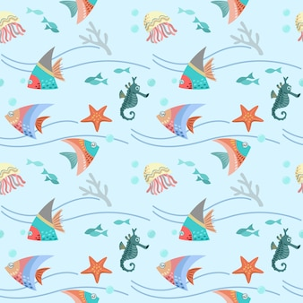 Graphic design of sea life seamless pattern.