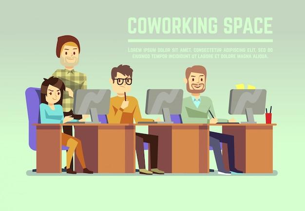 기관 사무실에서 일하는 그래픽 디자인 팀