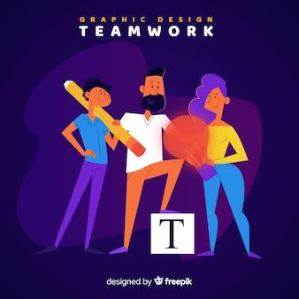 그래픽 디자인 팀워크 개념 무료 벡터