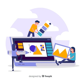 Graphic design teamwork concept