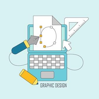 가는 선 스타일의 그래픽 디자인 도구