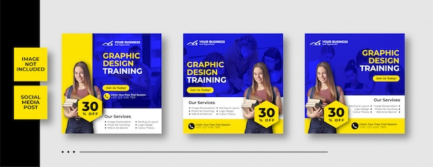 Graphic design training instagram post template