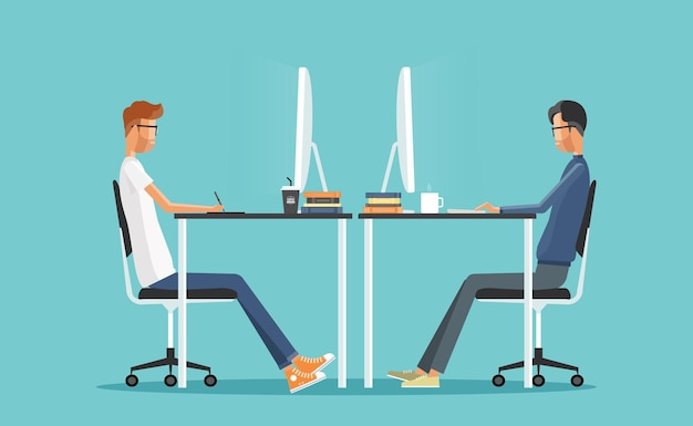 Graphic design and web developer working together concept