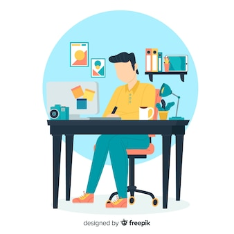 Graphic design workplace background